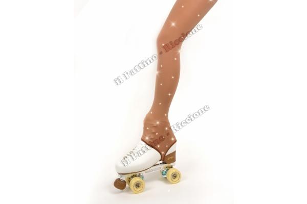 Medias para patinaje color natural con estribo y cristales