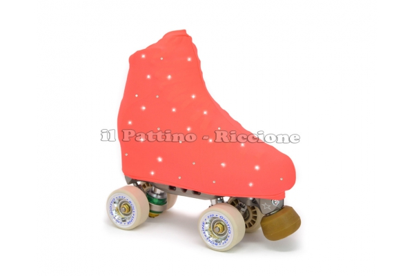 Cubre patines color pesca fluo con Strass